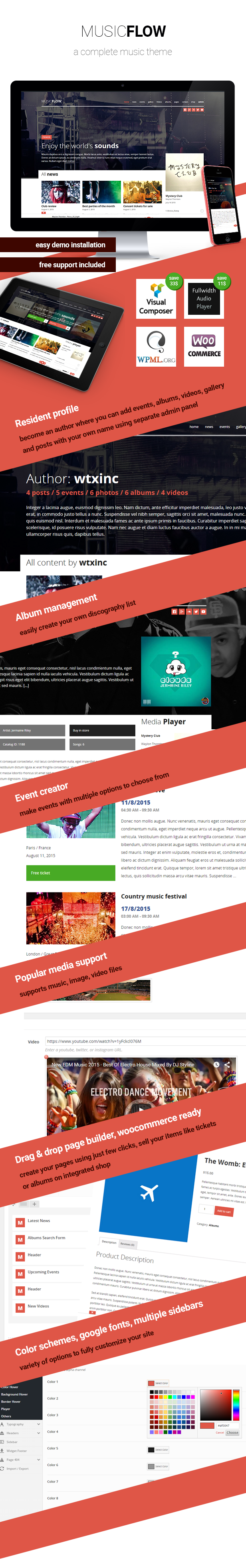 MUSICFLOW - music, bands wordpress theme